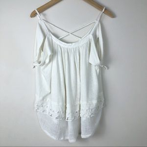 Free People Linen Cross Back Top Size Large